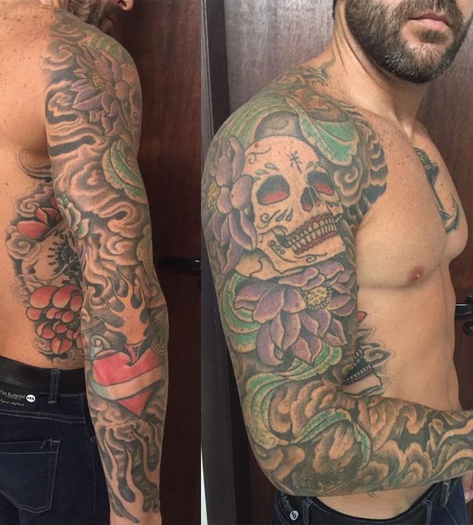 Boa forma e muuuitas tatuagens. Braços de Cristiano exibem várias tattoos. (Foto: Arquivo Pessoal)