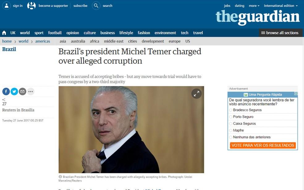 Jornal britânico 'The Guardian' noticia acusação contra Michel Temer (Foto: Reprodução/The Guardian)