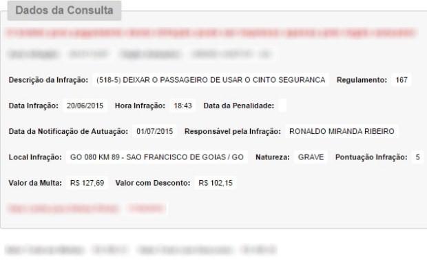 Motorista de Cristiano Araújo foi multado 4 dias antes do acidente em Goiás (Foto: Reprodução/Detran)