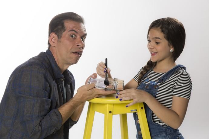 Leandro Hassum e Mel Maia reproduzem brincadeiras de pai e filha (Foto: Raphael Dias / Gshow)