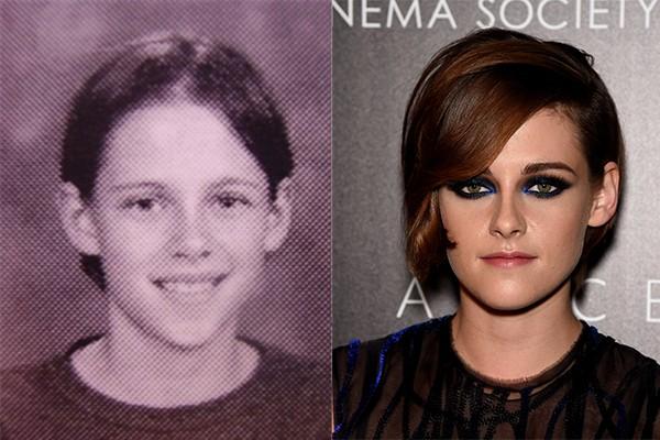 Kristen Stewart, que ficou mais conhecida por 'Crepúsculo', ainda parece tão tímida quanto na época do colégio  (Foto: Reprodução e Getty Images)