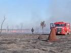 Incêndio atinge vegetação de aeroporto em Dourados, MS
