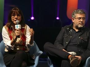 Beatriz Azeredo e Rafael Dragaud conversam com jornalistas (Foto: Divulgação)