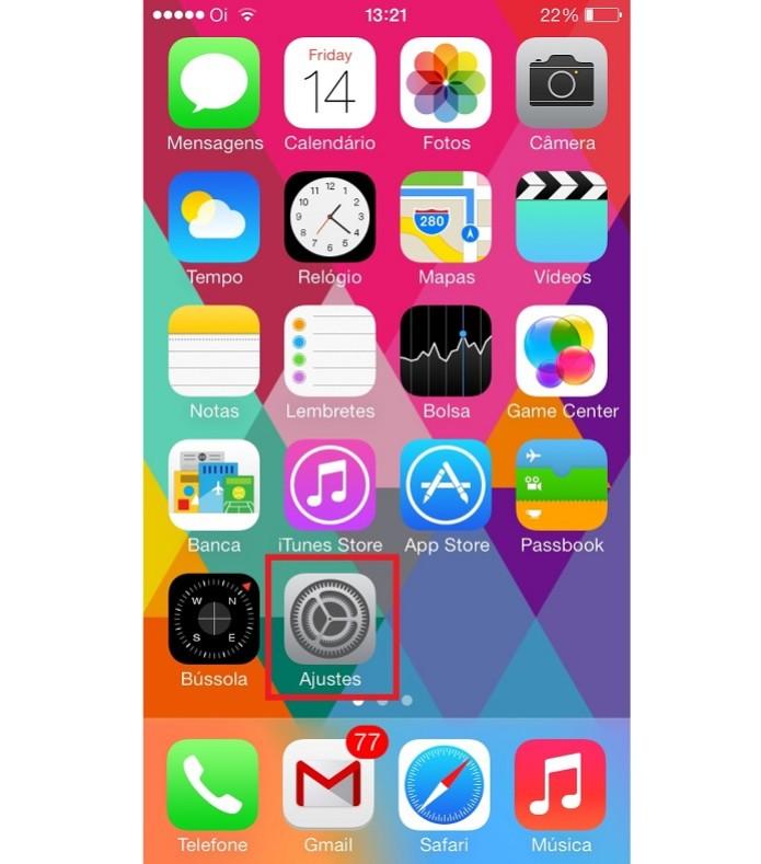 Vá em ajustes na tela principal do iOS (Reprodução/Taysa Coelho) (Foto: Vá em ajustes na tela principal do iOS (Reprodução/Taysa Coelho))