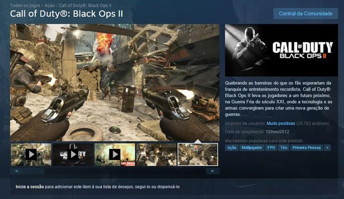 Página do jogo no Steam (Foto: Reprodução/André Mello)