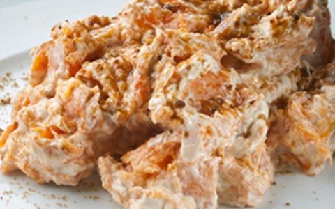 Abóbora assada com açúcar mascavo e cream cheese