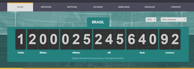 Impostômetro atingiu R$ 1,2 trilhão (Foto: Reprodução/Impostômetro)