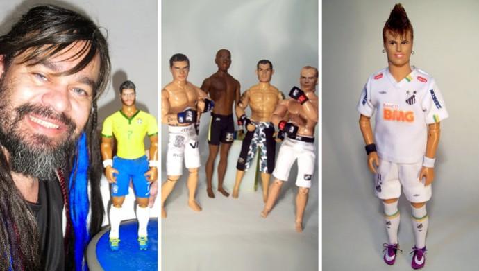 Marcus Baby e os bonecoes de Hulk, dos lutadores do UFC e Neymar (Foto: Marcus Baby/Divulgação)
