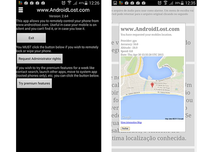 Aplicativo Android Lost permite acessar mapa com a localização do smart (Foto: Reprodução/Barbara Mannara)