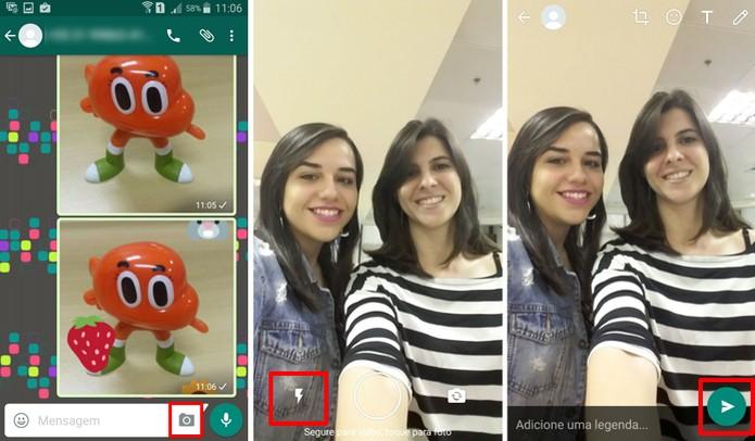 Câmera frontal do WhatsApp agora tem flash (Foto: Reprodução/Aline Batista)