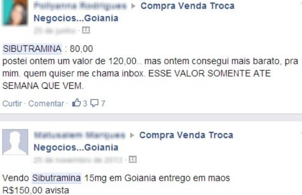 Anúncio de remédio inibidor de apetite em rede social para consumidores de Goiânia, Goiás (Foto: Internauta/VC no G1)