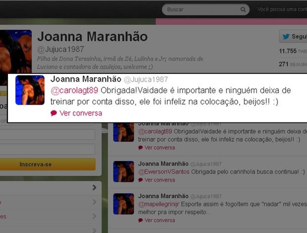 Joanna Maranhão twitter londres 2012 (Foto: Reprodução/Twitter)