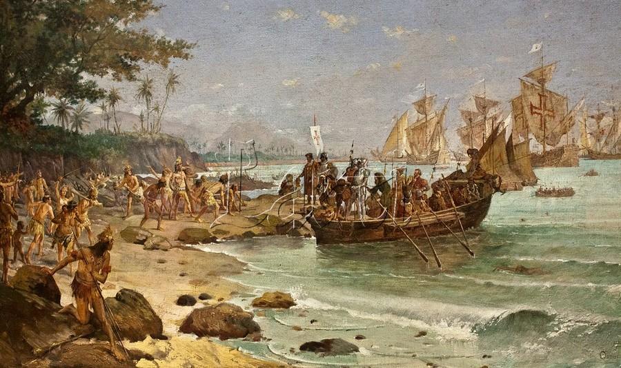 Pintura sobre o período histórico das 'Grandes Navegações' (Foto: Reprodução)