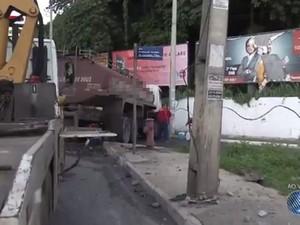 Acidente ocorreu no sentido Vasco da Gama nesta terça-feira (Foto: Reprodução/TV Bahia)