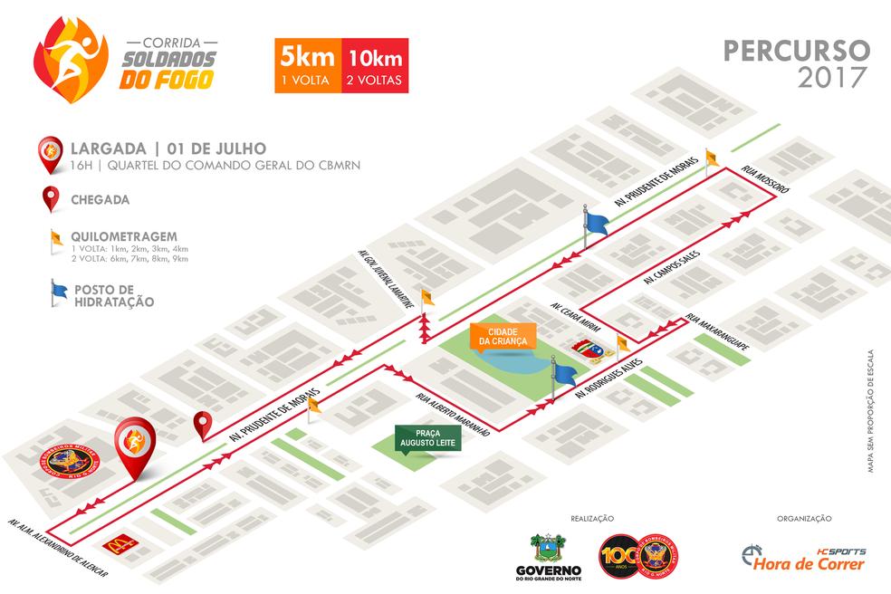 Corrida Soldados do Fogo tem percurso pelas Avenidas Prudente de Morais, Rodrigues Alves e Campos Sales (Foto: Reprodução)