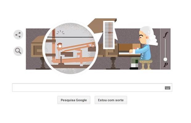 Quem inventou o piano? Google faz doodle para homenagear Bartolomeo Cristofori, o italiano tido como pai do instrumento. (Foto: Reprodução/Google)
