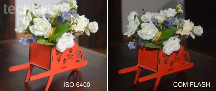 A diferença entre fotos com ISO 6400 e com flash (Foto: Carol Danelli/TechTudo)