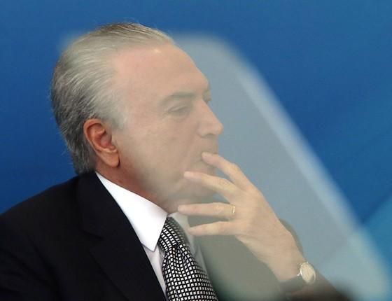 Michel Temer durante posse do ministro da Cultura Sérgio Sá Leitão (Foto: Givaldo Barbosa / Agência O Globo)