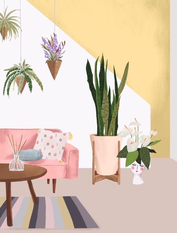 Plantas na sala (Foto: Ilustração Malena Flores)