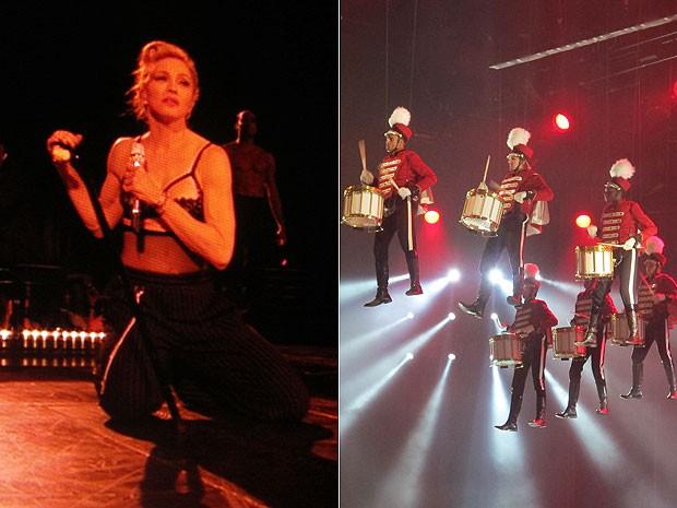 Madonna durante show em Milão, na Itália, da turnê do disco 'MDNA' (Foto: G1)