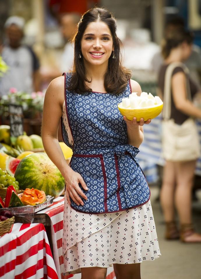 Shirlei, personagem vivida por Sabrina em 'Haja Coração, sonha em encontrar seu grande amor (Foto: João Miguel Júnior/Globo)