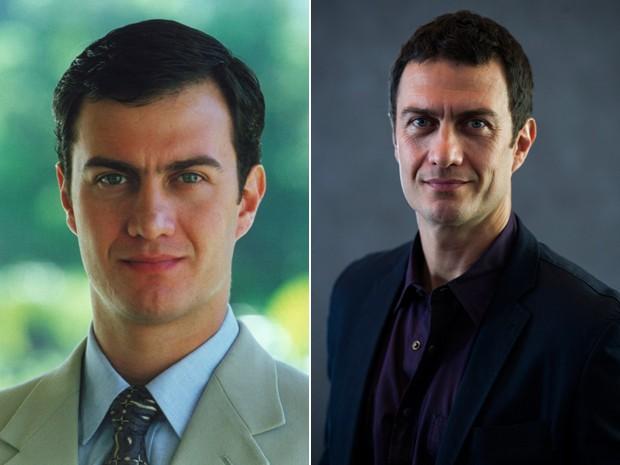Antes e depois! À esquerda, Gabriel Braga Nunes como Olavo, de Anjo Mau, e, à direita, o ator em pose recente (Foto: CEDOC / Estevam Avelar / TV Globo)