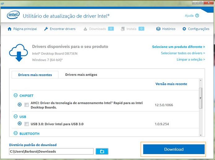 Acompanhe o download do driver Intel e depois acesse o diretório