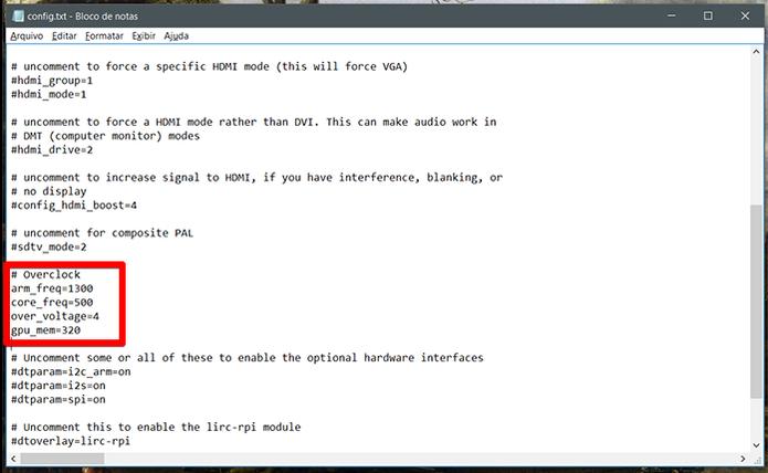 Abaixo de # Overclock você pode inserir as suas configurações (Foto: Reprodução/Filipe Garrett)