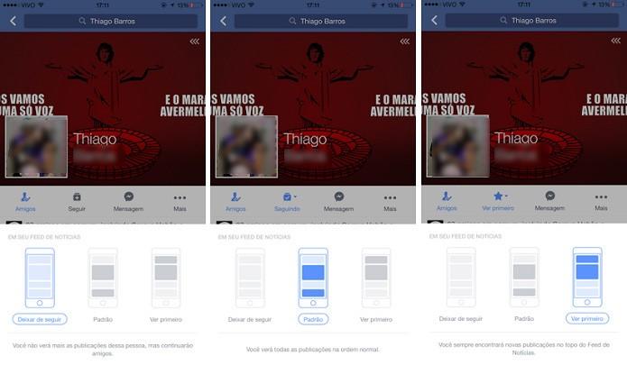 Opções para aparacer postagens ou não de um perfil no feed de notícias no Facebook para iOS (Foto: Reprodução/Aline Jesus)