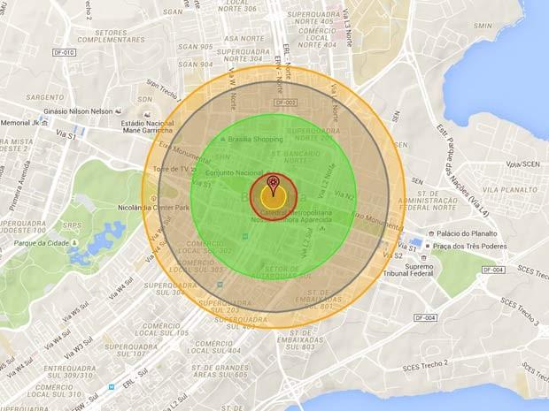 App mostra raio de destruição que a 'Little Boy', bomba atômica lançada sobre Hiroshima, teria em Brasília (Foto: Reprodução/ NukeMap)