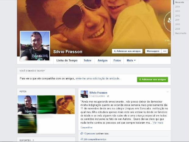 Pai ficou indgnado com a situação e postou comentário em sua página em uma rede social (Foto: Reprodução/Facebook)