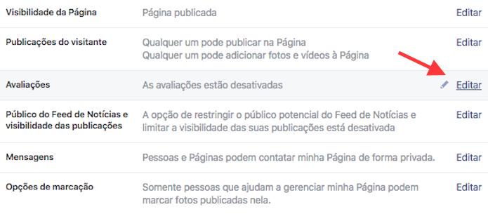 Caminho para ativar as avaliações de uma página do Facebook (Foto: Reprodução/Marvin Costa)