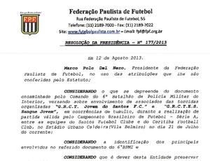 Documento FPF punição torcedores do Santos (Foto: Reprodução)