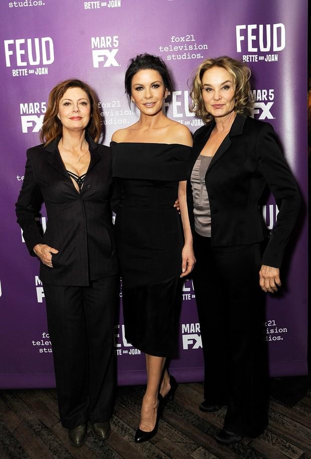 Susan Sarandon, Catherine Zeta-Jones e Jessica Lange em evento em Nova York, nos Estados Unidos (Foto: Rabbani and Solimene/ Getty Images/ AFP)