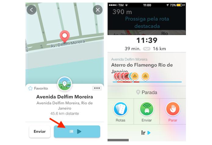 Definindo uma rota do Waze fora da localização atual do usuário (Foto: Reprodução/Marvin Costa)