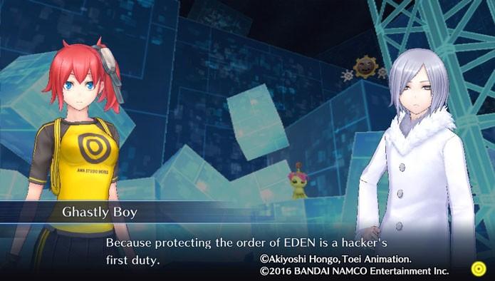 Em Digimon Story: Cyber Sleuth, seu personagem é um hacker que usa programas chamados Digimons (Foto: Reprodução/Tais Carvalho)