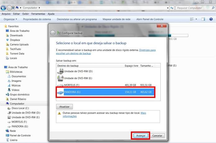 Escolha o drive do HD externo e prossiga para próxima fase do assistente do backup (Foto: Reprodução/Daniel Ribeiro)