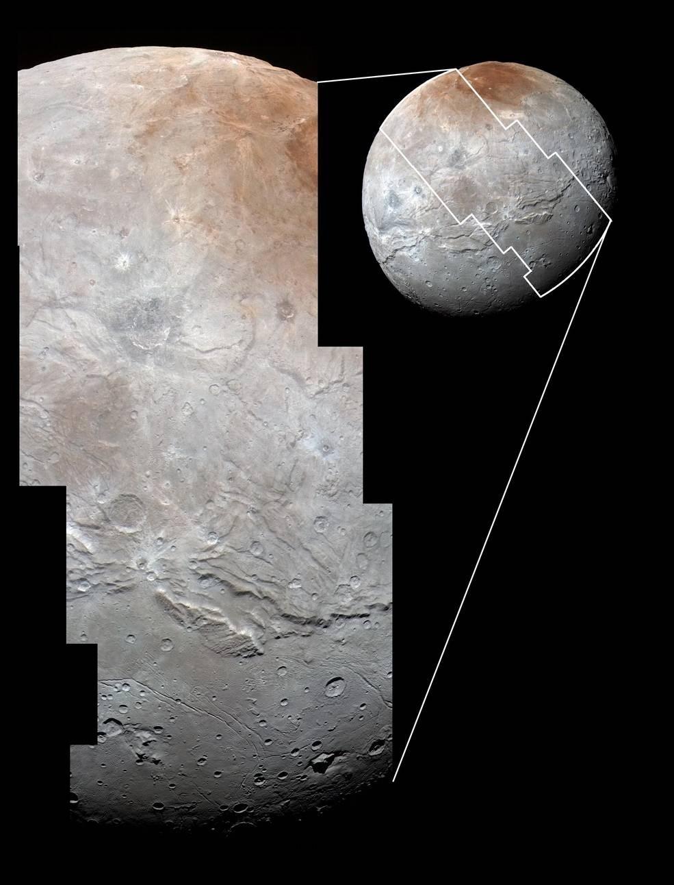 Caronte é cheia de desfiladeiros partidos (Foto: NASA)