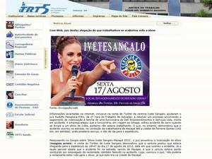 Tribunal Regional do Trabalho publicou imagem encontrada de show em pesquisa de juiz na internet (Foto: Reprodução)