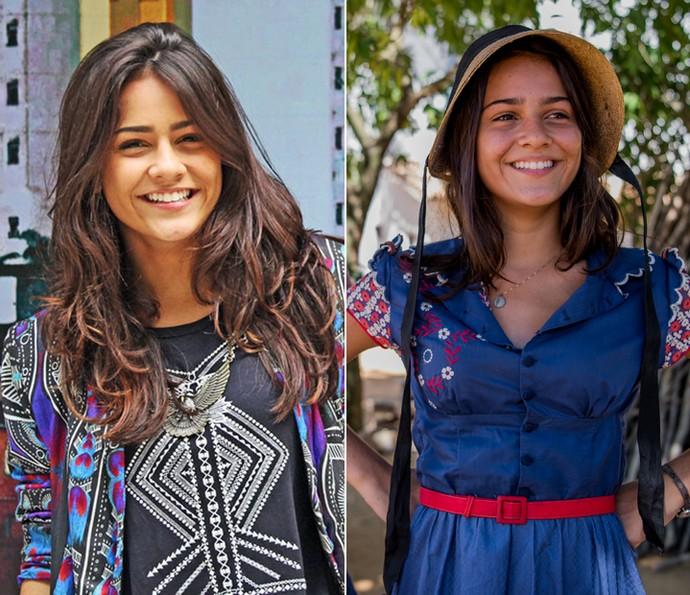 Em 'I Love Paraisópolis' e na primeira fase de Olívia, em 'Velho Chico' Giullia Buscacio usou o cabelo mais longo  (Foto: Globo/ Divulgação)