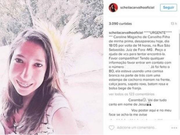 Scheila Carvalho pediu ajuda para encontrar prima (Foto: Reprodução/Instagram)