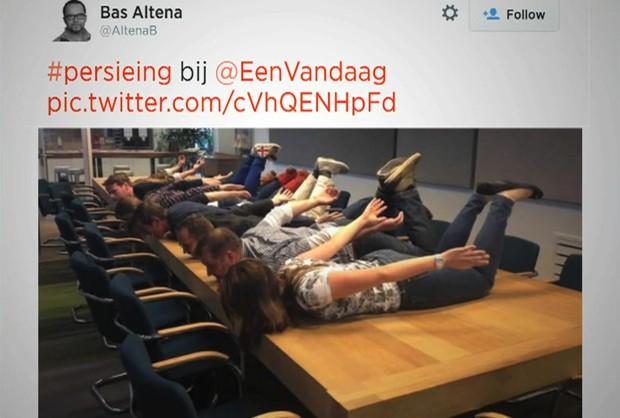 Usuários do Twitter recriam 'voo de Van Persie' (Foto: BBC)