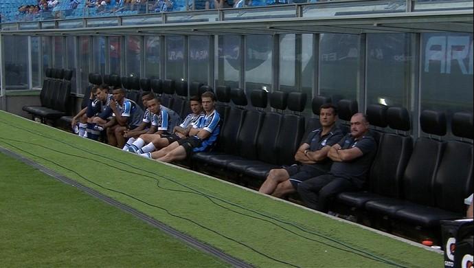 Imagem mostra área técnica sem Felipão em jogo de Grêmio e Veranópolis (Foto: Reprodução)