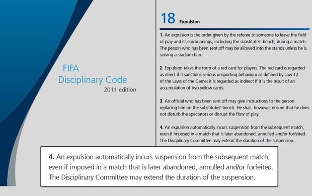 Fifa código disciplinar expulsão Seedorf (Foto: Reprodução)