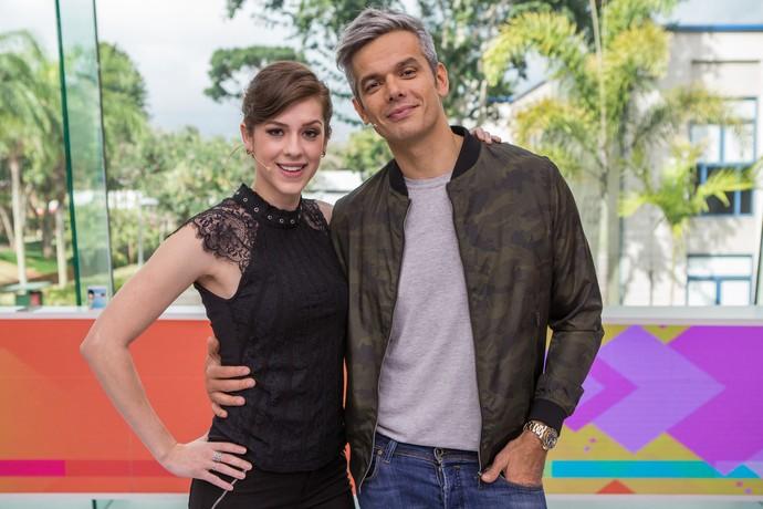 Sophia e Otaviano no estúdio do 'Vídeo Show' (Foto: Artur Meninea/Gshow)
