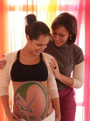Eleonora com uma gestante no Despertar do Parto (Foto: arquivo pessoal)