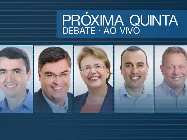 Cinco candidatos participam de debate em Juiz de Fora (Foto: Reprodução/TV Integração)