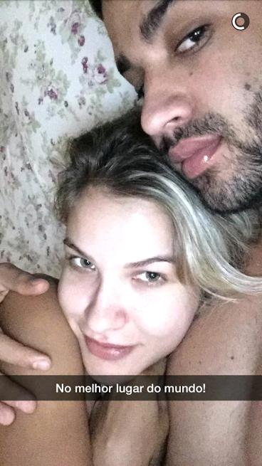 Andressa Suita e Gusttavo Lima (Foto: Reprodução/Snapchat)