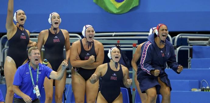Atletas do polo aquático dos EUA comemoram ouro na piscina (Foto: Reuters)