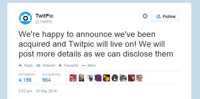 Compra misteriosa faz Twitpic permanecer no ar após ameaças do Twitter (foto: Reprodução/Twitter)